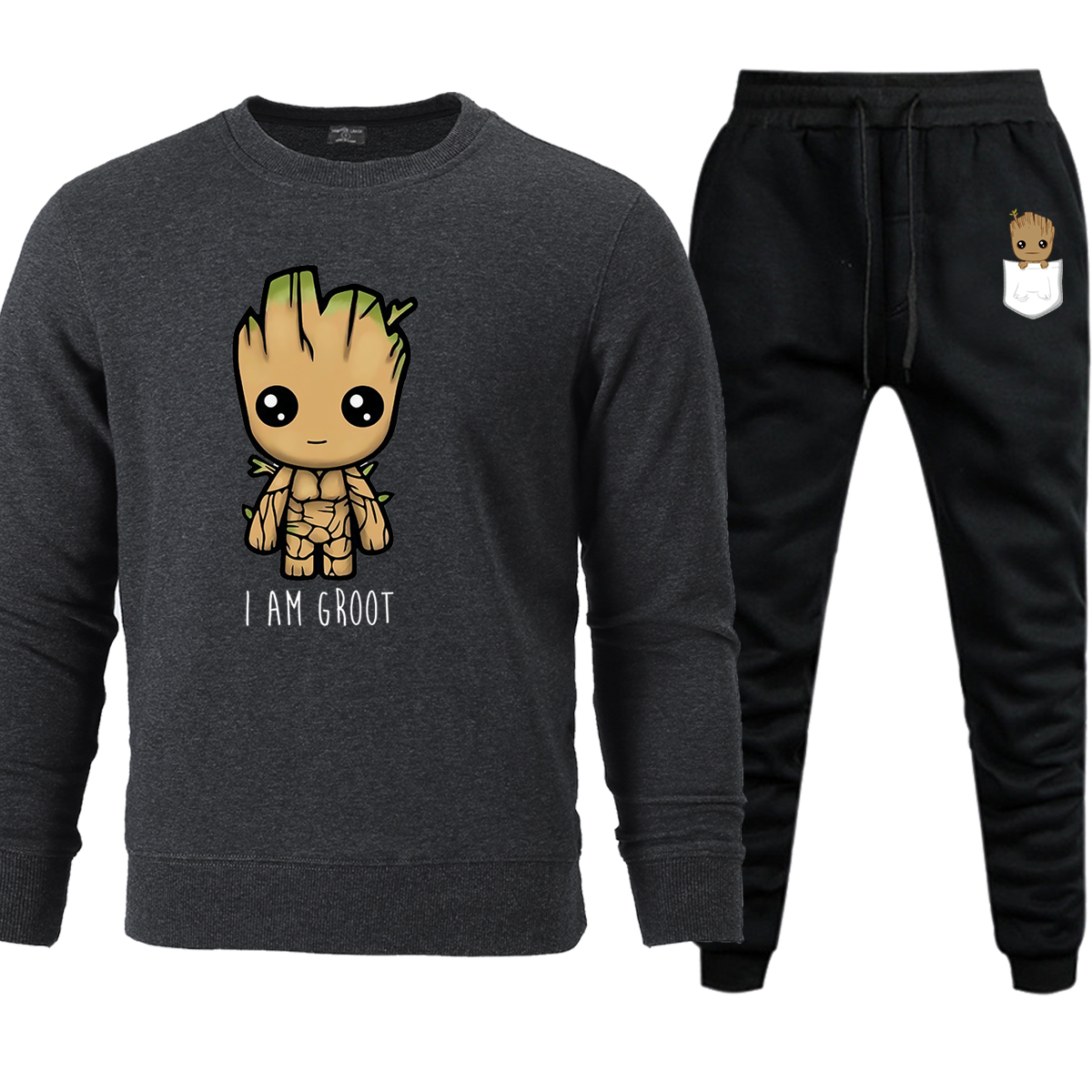 I Am Groot Mens Sets Sweatshirt+Pant 2019 Autumn Winter Fleece Warm Casual Avengers Hip Hop Sweatpants Men Pullovers Set Pant