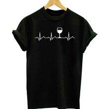 Wine Heartbeat Women tshirt Casual Funny t shirt Lady Yong Girl Short Sleeve Top