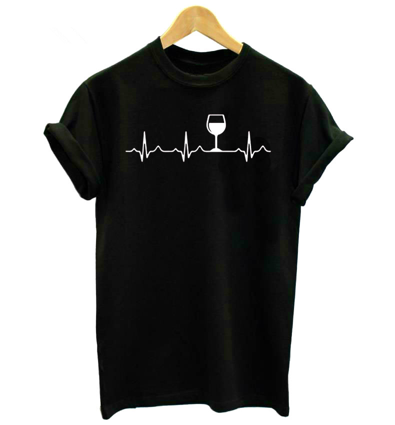 Wine Heartbeat Women tshirt Casual Funny t shirt Lady Yong Girl Short Sleeve Top Tee Female Clothes