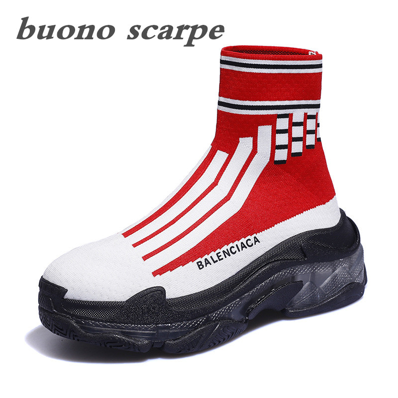 Women's hosiery shoes 2019 spring new versatile hosiery shoes women's hip-hop high top hosiery socks shoes