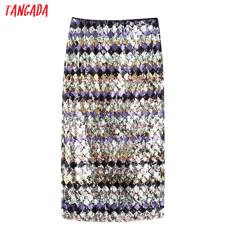 Tangada Women Sequined Pencil Skirt Stretch Waist Vintage Elegant Ladies Party Skirt Retro Mid Calf Skirts BE86
