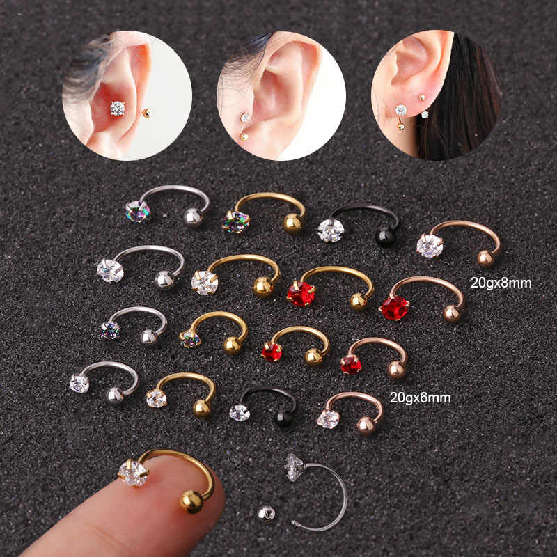 Sellsets 1pc 20gx6mm/8mm Stainless Steel Cz Hoop Tragus Cartilage Helix Earring Conch Rook Daith Lobe Ear Piercing Jewelry