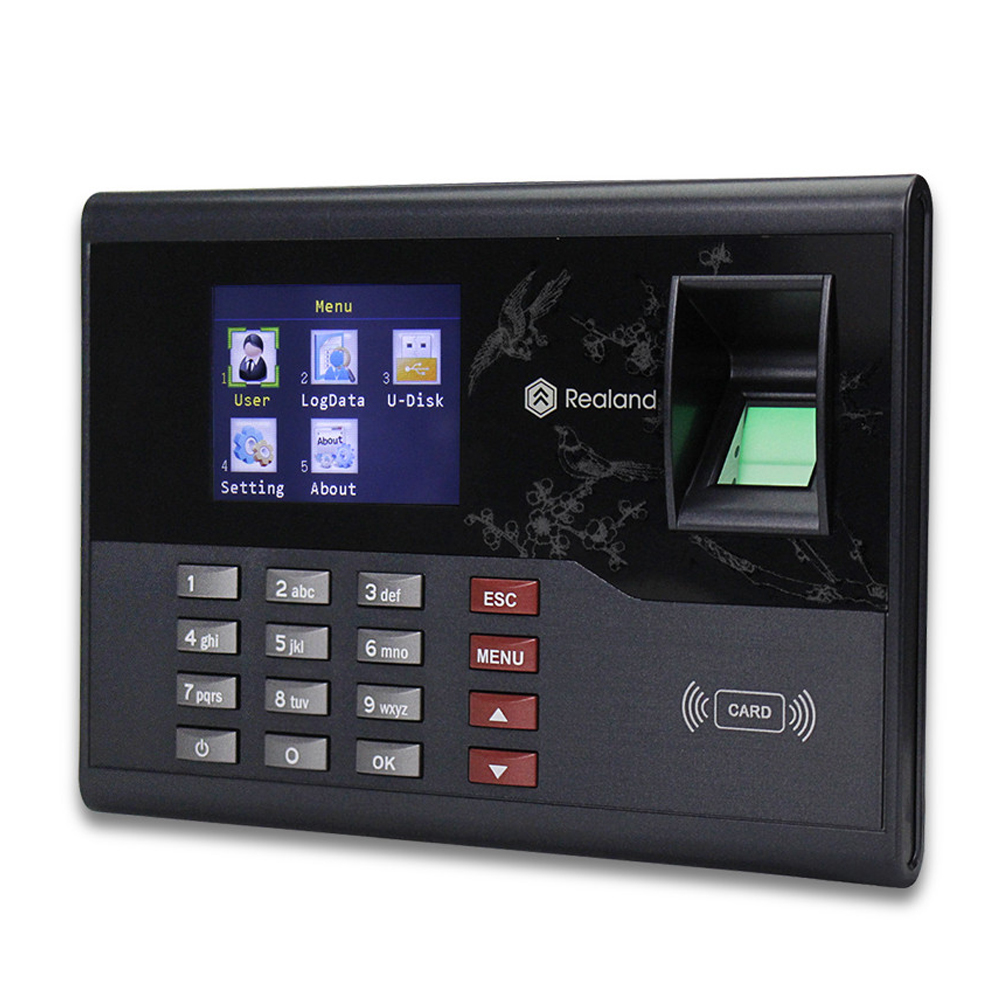 2.8inch TCP/IP/USB Realand Biometric Fingerprint Attendance Machine System Employee Time Clock RFID Card Reader For Home/Office