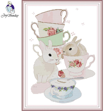 Joy Sunday,Cup and Rabbit,cross stitch embroidery set,Cartoon pattern cross stitch,Needlework counted cross-stitch patterns joy sunday wine cross stitch embroidery set cross stitch pattern needlework counted cross stitch patterns chinese cross stitch