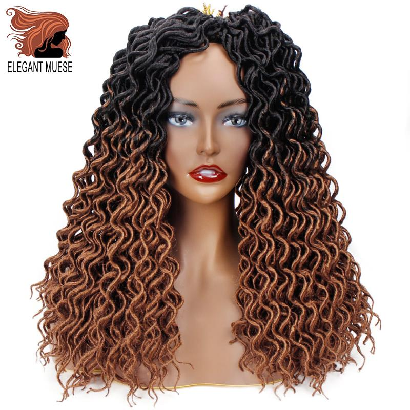 ELEGANT MUSES Faux Locs Curly Crochet Hair Synthetic Ombre Brown  Hair Extensions 18inches 24stands Braiding Hair Extensions