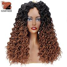 ELEGANT MUSES Faux Locs Curly Crochet Hair Synthetic Ombre Brown Hair