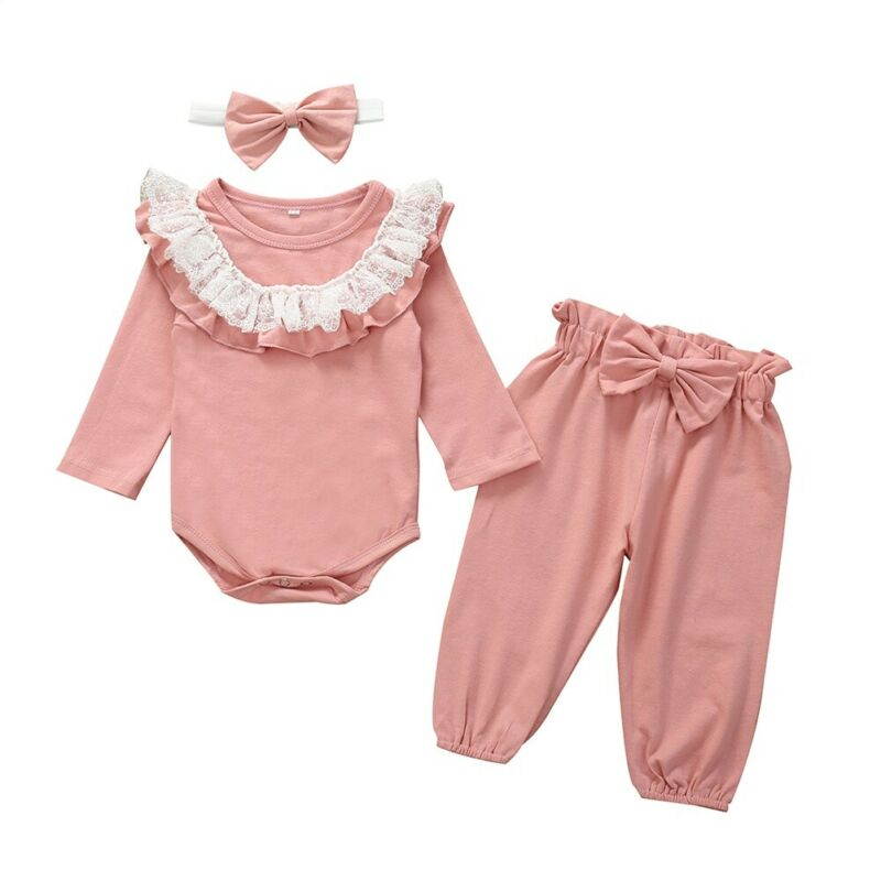 3Pcs Newborn Infant Baby Girl Floral Outfit Lace Long Sleeve Clothes Romper Tops+Pants+Headband Set Princess Clothes Girls Suit