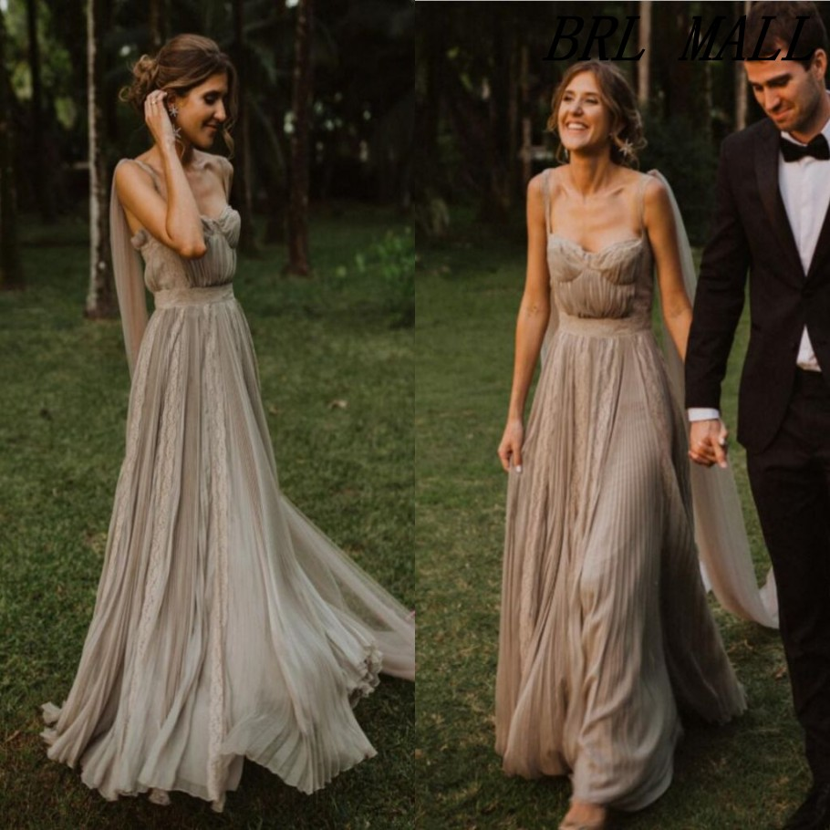 Bohemian 2020 A Line Pleats Tulle Wedding Dresses With Ribbons Spaghetti Boho Beach Wedding Gowns Elegant Garden Bridal Dresses