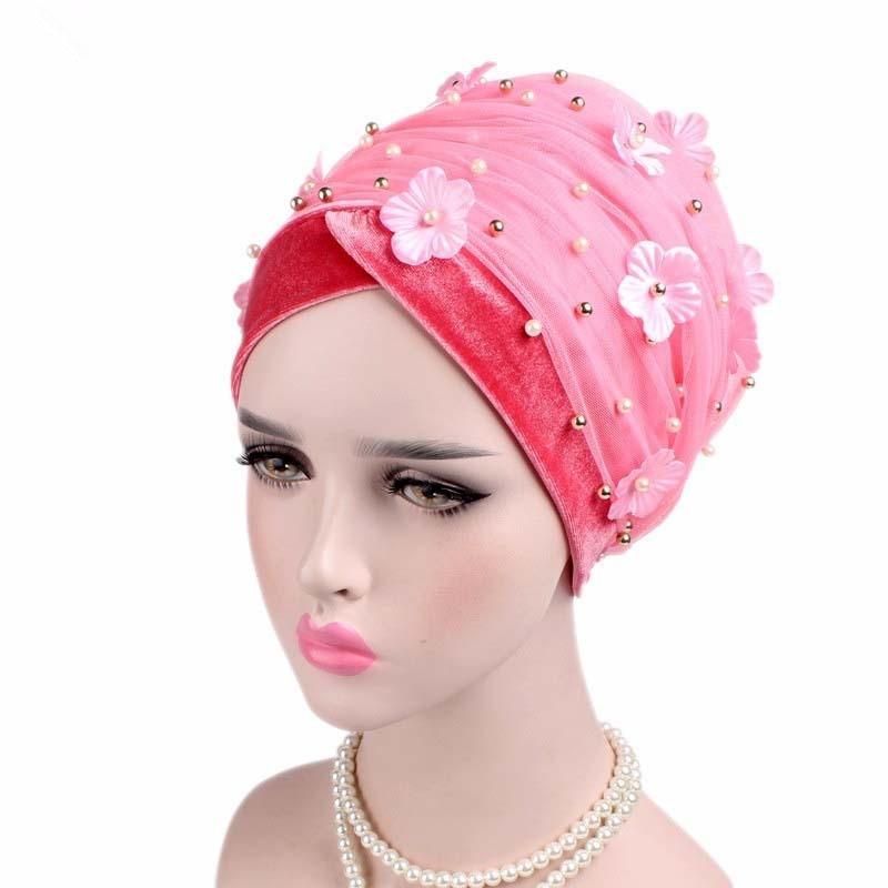 Image 2 - Helisopus Women New Beaded Mesh Flower Velvet Turban Women Hair  Accessories Fashion Wrapped Head Scarf Hijab Cap Muslim HatWomens Hair  Accessories