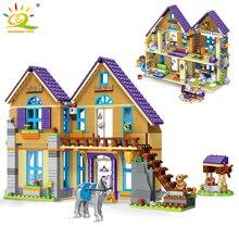 HUIQIBAO 805pcs Friend City Woods Villa House Building Blocks Toys Girls Friends Figures Country House Bricks Toys For Children