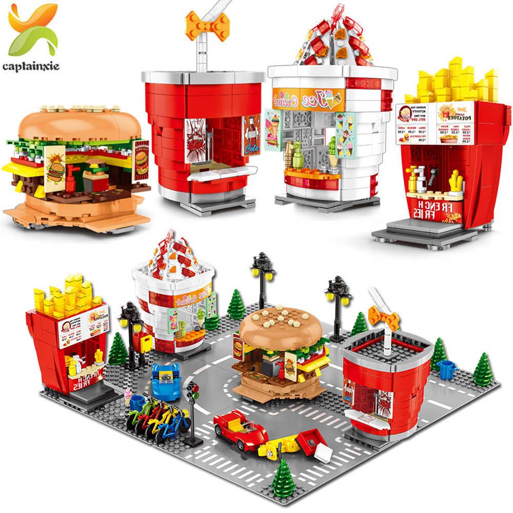 Hamburger gelato Patatine Fritte Negozio di Blocchi di Costruzione Legoingly Città Edilizia Architettura Street View Mattoni Giocattoli Per Bambini
