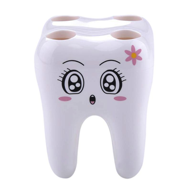 Novelty 4 Hole Tooth Style Toothbrush Holder Bracket Container For Bathroom image