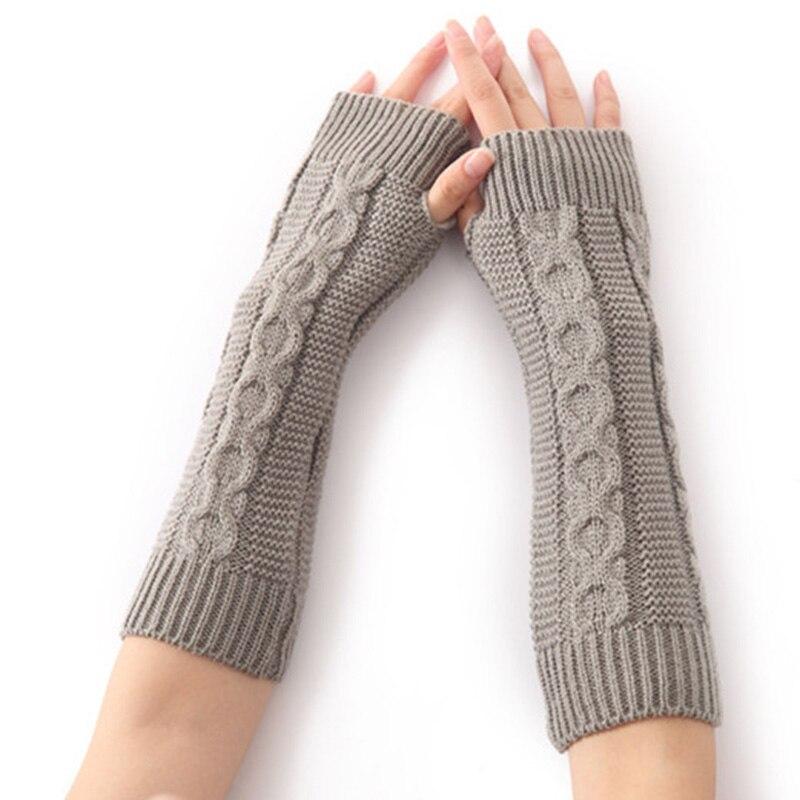Winter Women Long Warm Sleeves Mittens Female Twist Acrylic Stretch Knit Half Finger Fingerless Arm Warmers Gloves C76
