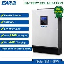 Easun power 5000w 48v inversor solar 450vdc 80a mppt paralelo inversor 230v onda senoidal pura híbrido inversor 80a carregador de bateria