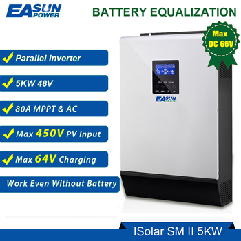 Moc EASUN 5000W 48V falownik solarny 450Vdc 80A MPPT falownik równoległy 230V czysta fala sinusoidalna hybrydowy falownik 80A ładowarka tanie i dobre opinie EASUN POWER Dc ac falowników 59 X 39 X 231CM ISolar SM II 5KW 50Hz 60Hz auto detect Pojedyncze 1-200kw 13KG 21 73A inverter 48v 220v