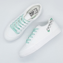 White sneakers women Shoes 2020 Fashion Color Lace-up Women Casual Shoes Soft Breathable Platform Shoes Casual Woman Sneakers woman sneakers metallic color woman shoes front lace up woman casual shoes low top rivets embellished platform woman flats brand