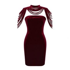 Image 5 - Женское Бархатное облегающее платье без бретелек, вечернее праздничное новогоднее платье, элегантное привлекательное винно красное платье с высокой горловиной и открытой спиной