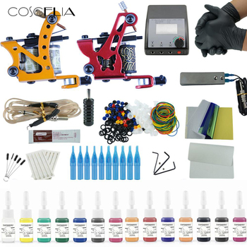 Complete Tattoo Machine Kit Set Tattoo Gun Machine Tattoo Inks  Pigment Sets Power Supply Set Beginner Grips Kits Body Art Tools 2 tattoo machine guns power supply pigment inks sets body art permanent makeup professional tattoo set