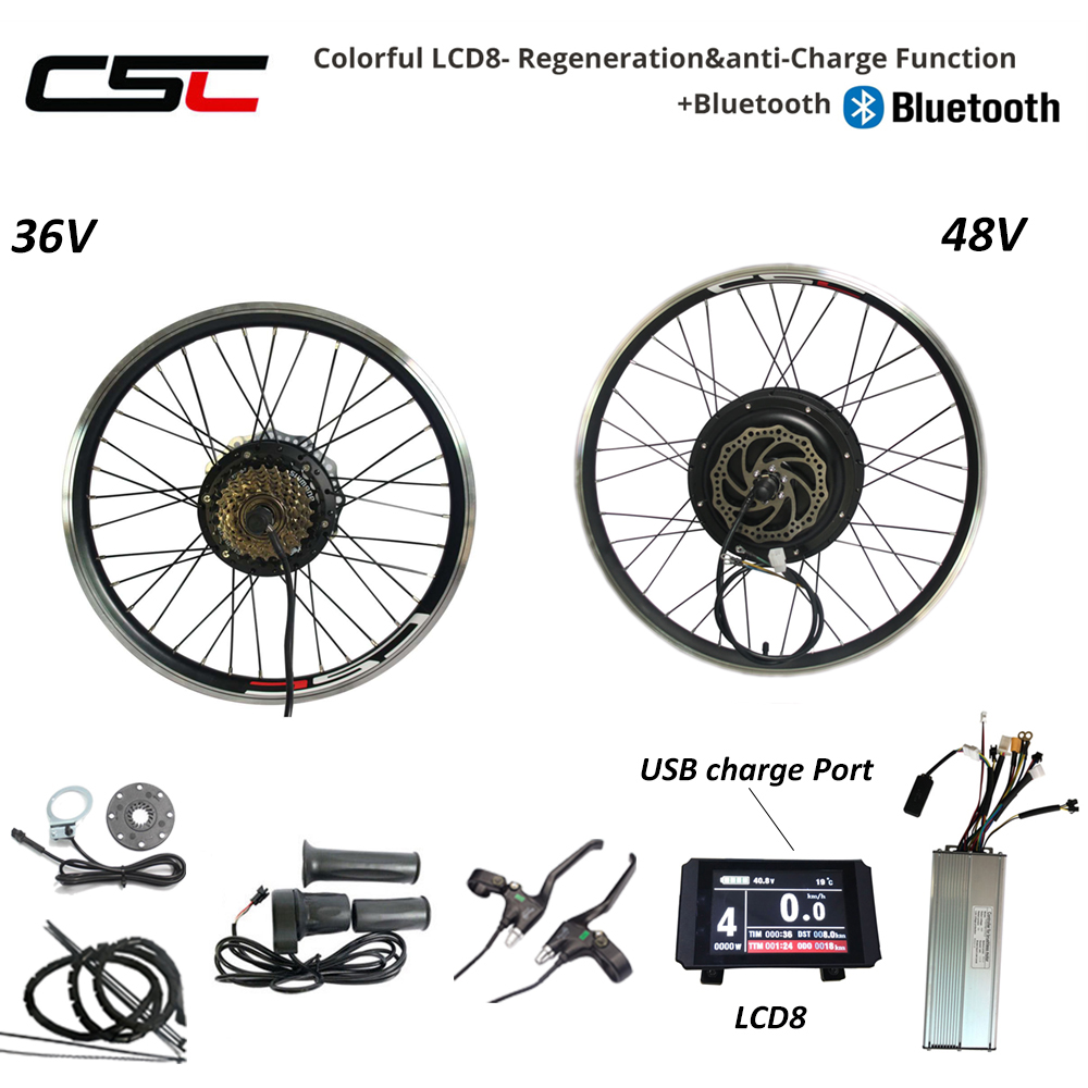 Electric Rear Wheel Kit Motor 250W 350W 500W 1000W 1500W 48V Regeneration Ebike