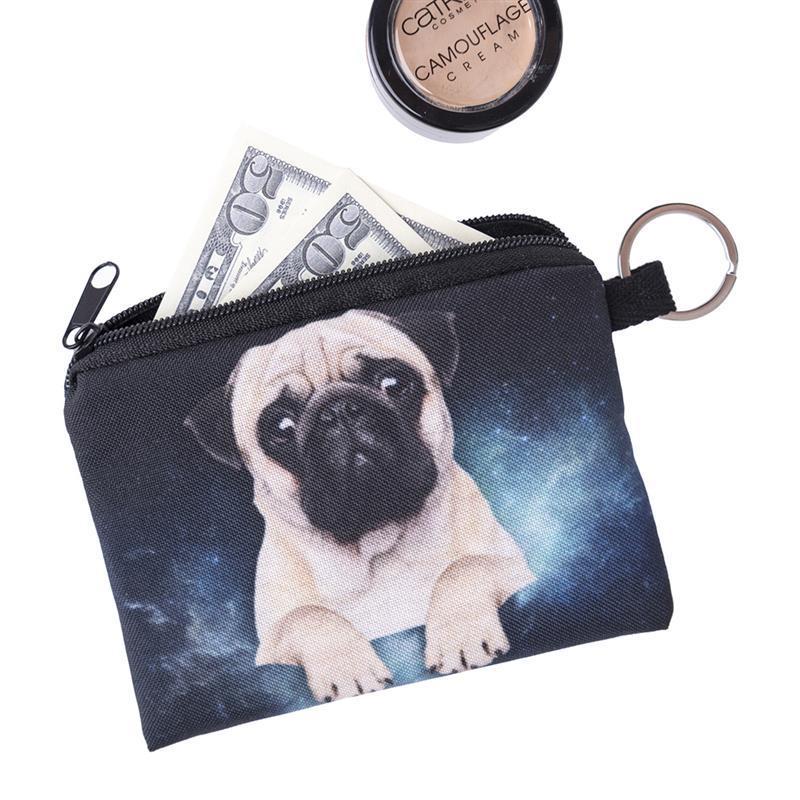 1PC Unisex Wallet Cute Purse Cartoon Dog Animal Short Wallet With Zipper 3D Dog Cat Print Coin Pouch Wallet Clutch Card Holder