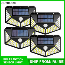 OUYORCAR 100 LED Solar Light Outdoor Solar Lamp Powered Sunlight Waterproof PIR Motion Sensor Street Light for Garden Decoration