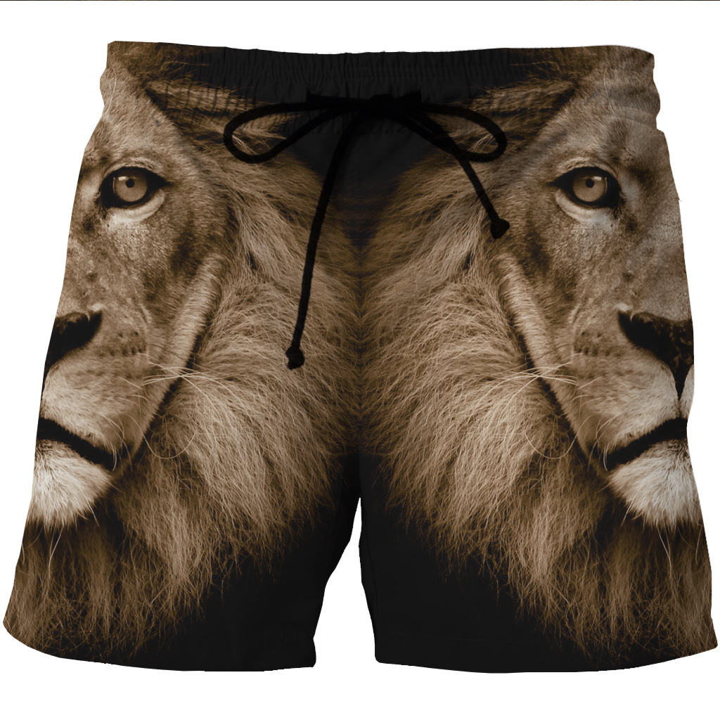 New Men's Quick-drying Beach Shorts 3D Lion Printing Casual Pocket Shorts On Both Sides