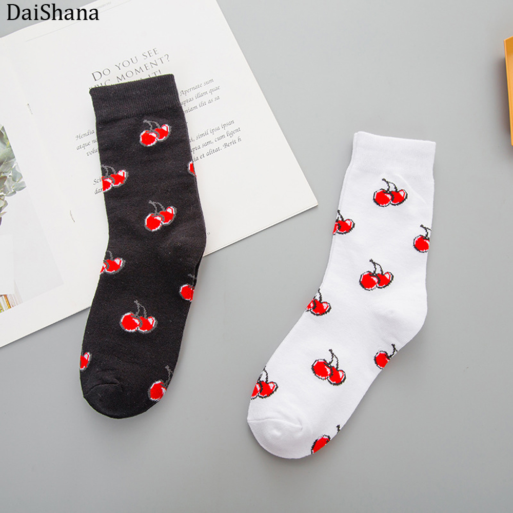 2019 Fashion Funny Harajuku Sock Japanese Creative Cherry Socks Women Warm Cute Novelty Femme Sokken Meias Calzini Donna Mujer