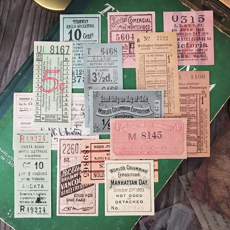 14pcs Tim Holtz Vintage Ticket Sticker TN Hand book Decorative Material European American Junk Journ