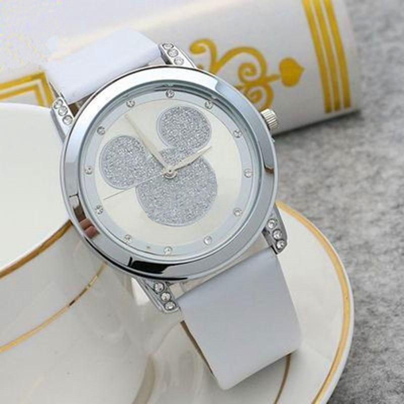 Mickey mouse minni relógio de quartzo aço dos desenhos animados crianças relógios cristal diamante senhoras estudante anime meninas relógio de ouro