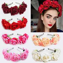 1 pcs floral rosa flor headdress cabelo hoop moda feminina nova bandana de veludo artesanal grinalda noiva guirlanda casamento headwear