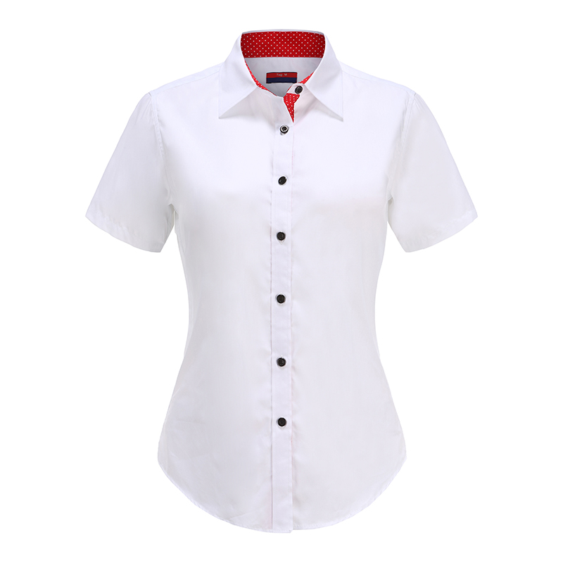 Tsmile Fashion Women Short Sleeve Buttons Decorate Tshirts Plus Size Two Tone Blouse Peter Pan Collar T-Shirt Tops
