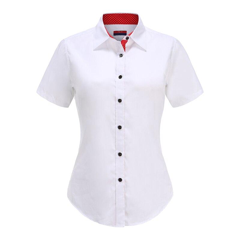 Dioufond 2020 Solid Short Sleeve Shirt Women Blouse Cotton Top Casual Summer Beach Shirt Plus Size 5XL Work Wear Blouse