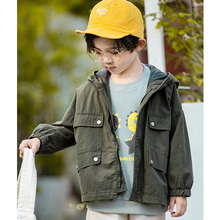 Children Outerwear Jacket for Boy 2019 New Amy Green Trench Coats Letter Printed Boys' Hooded Windproof Kids Jacket Windbreaker fashion boy s letter printed pattern coats children s water repellent windproof softshell jackets tops