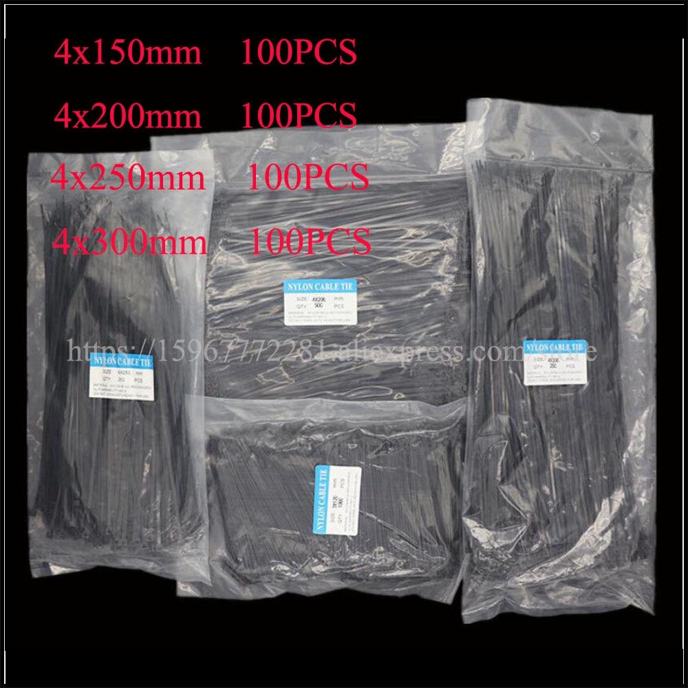 400PCS/bag Cable Tie Assorted Self-locking Nylon Cable Ties Black Plastic Zip Tie Loop Wire Wrap Zip Ties 4*150/200/250/300mm