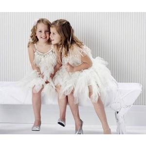 Image 5 - Fashion Feather Tassels Girls Dress 2 10 yrs Girl Wedding Party Dresses Kids Princess Dress Birthday Costume Childrens Clothing