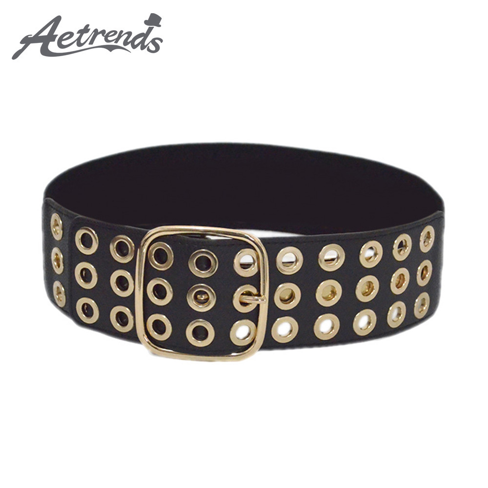 [AETRENDS] Fashion Waist Belts Lady Hollow Carved Pin Buckle Elastic Wide Waist Girdle Cinch Belt D-0127