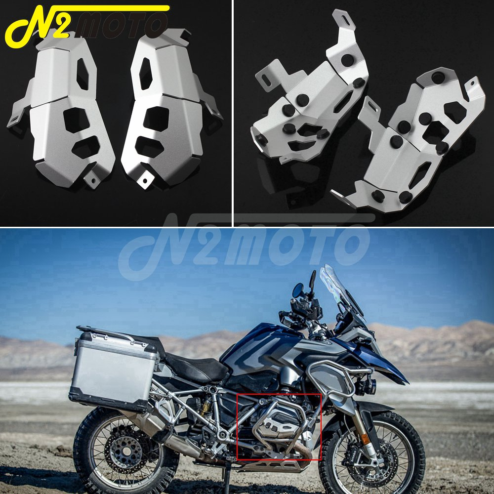 A Pair Aluminum Motorcycle Front <font><b>Cylinder</b></font> <font><b>Head</b></font> Guard Cover Protector Silver For <font><b>BMW</b></font> <font><b>R1200GS</b></font> ADV 2013-2017 <font><b>Cylinder</b></font> Guard Kit image