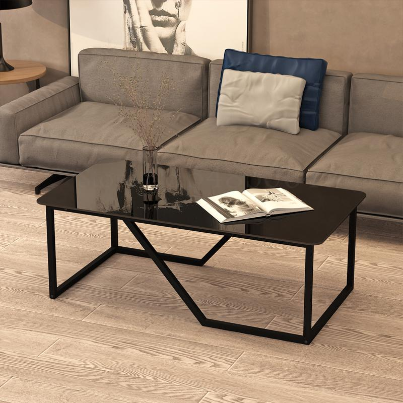 Coffee Table Simple Modern Small Apartment Tempered Glass Metal