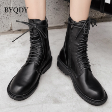 BYQDY Woman Autumn Boots Lace-up Chunky Heels Black Patent Leather Ankle Punk Gothic Side Zipper Shoes Winter Promotion