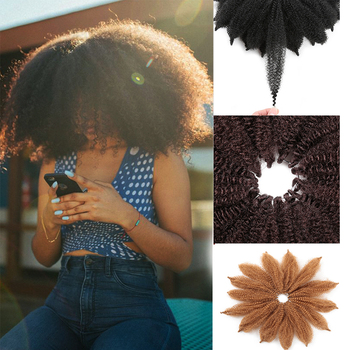For Woman 8'' Crochet Marley Braids Black Hair Soft Afro Twist Synthetic Braiding Extensions High Temperature Fiber - discount item  27% OFF Synthetic Hair