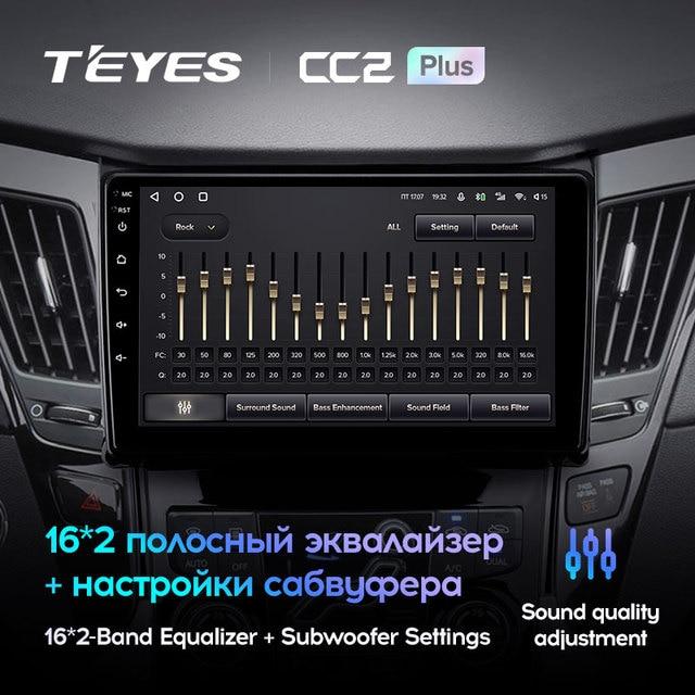 TEYES CC2L и CC2 Plus Штатная магнитола For Хендай Соната For Hyundai Sonata 6 YF 2009 - 2014 Android до 8-ЯДЕР до 6 + 128ГБ 16*2EQ + DSP 2DIN автомагнитола 2 DIN DVD GPS мультимедиа автомобиля головное устройство 5