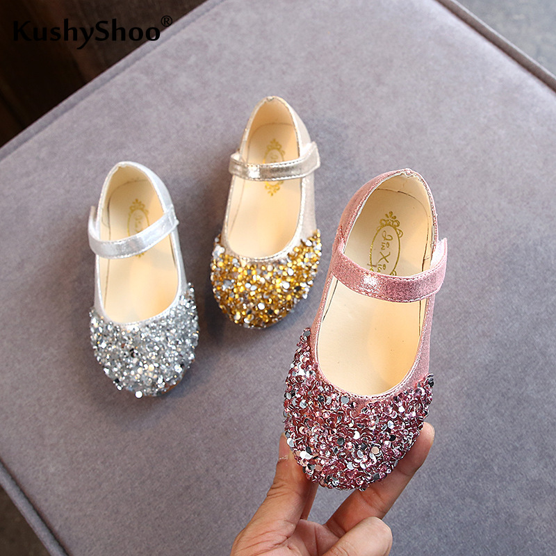 Kushyshoo 2020 spring new toddler girl closed toe sandals girls princess shoes glitter children baby dance shoes casual toddler girl sandals