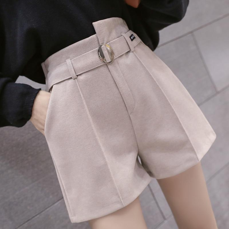 High Waist Woolen Shorts Women Korean Elegant A Line Wide Leg Short Pants Autumn Winter Black Ladies Office Work Belted Shorts