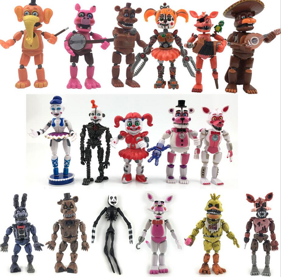 FNAF Five Nights At Freddy's Figurine Nightmare Freddy Chica Bonnie Funtime Foxy Bear PVC Action Figures Toys Doll Set