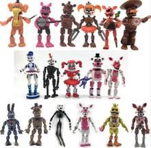 FNAF cinco noches en Freddy estatuilla pesadilla Freddy Chica Bonnie Funtime Foxy Oso de acción de PVC figuras muñecas juguetes conjunto