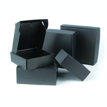 5pcs / 10pcs / Black corrugated paper box holiday blank gift box 3-layer wig packing box can be customized size and printed logo