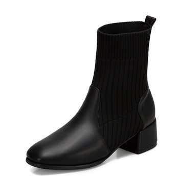 Wool Tube European And American Square Toe Mid-Heel Short Boots Women Thick Heel PU Stitching Mid-Calf Boot
