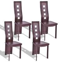 High Quality Set of 4 Stable Steel Frame High Back Armless Dining Chairs Leather Comfortable High density Sponge Furniture