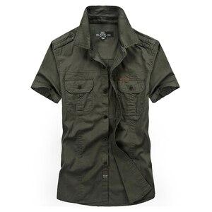 Image 3 - VINRUMIKA Große Größe M 5XL 2020 Sommer männer casual marke kurzarm shirt mann 100% reine baumwolle khaki shirts armee grün kleidung