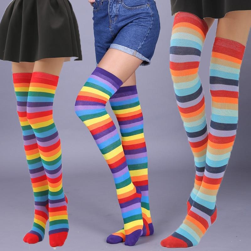 Fashion Trend Rainbow Stripes Knee Socks Women Plus Size Thin Over The Knee Legs Ladies Socks High Quality Wild High Knee Socks